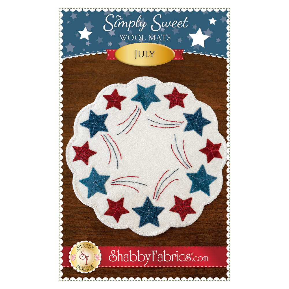 The front of the Simply Sweet Mats - July pattern showing the finished patriotic July mat