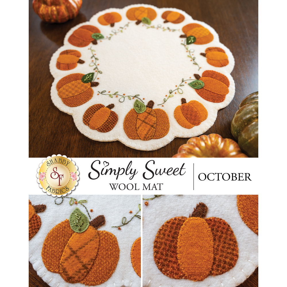 A collage of images showing the finished October Simply Sweet Wool Mat