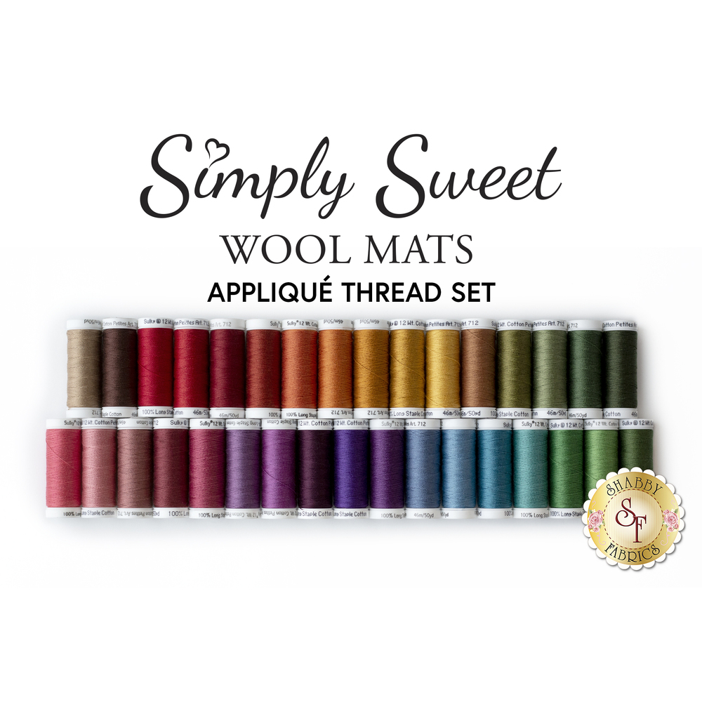 Simply Sweet Table Mats Applique Thread Set - RESERVE available at Shabby Fabrics