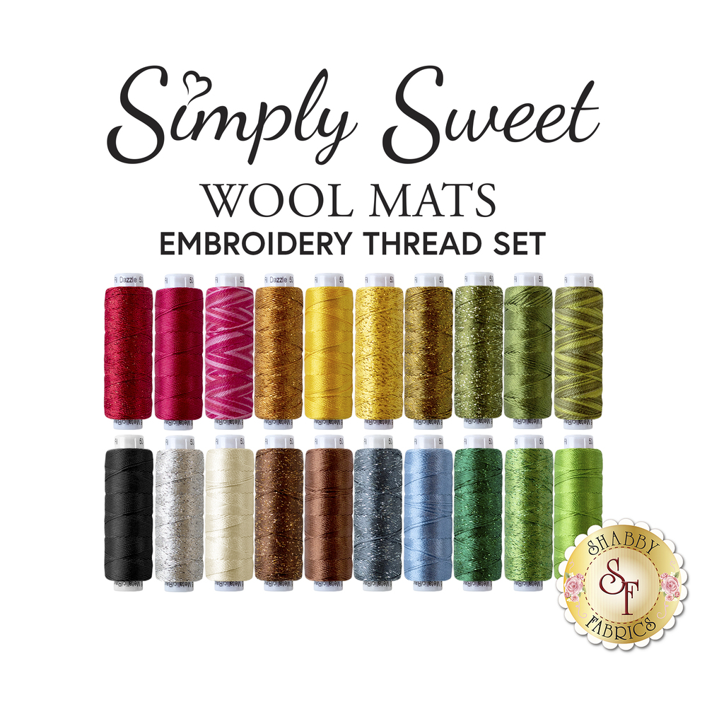 Simply Sweet Table Mats Embroidery Thread Set - RESERVE available at Shabby Fabrics