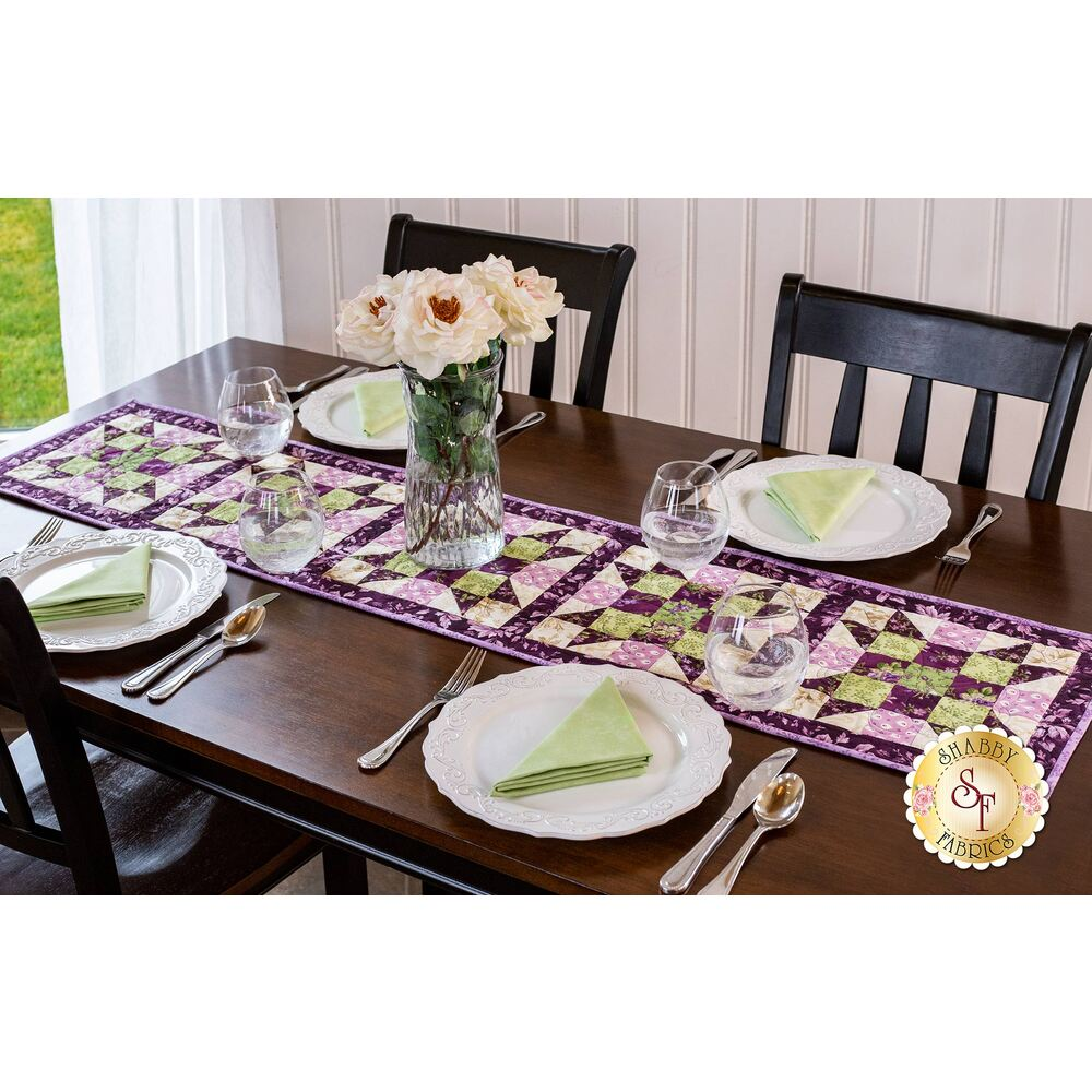 Aubergine Sister's Choice Table Runner Pre-Cut Kit Available at Shabby Fabrics