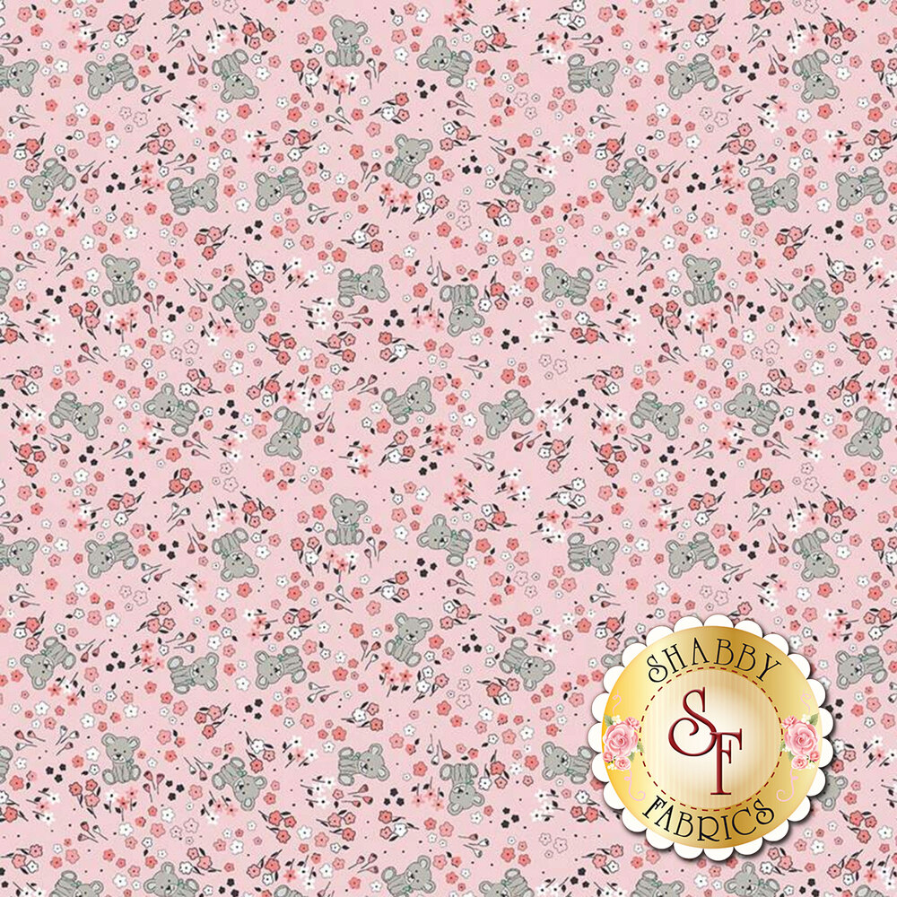 Tossed flowers and bears on pink | Shabby Fabrics