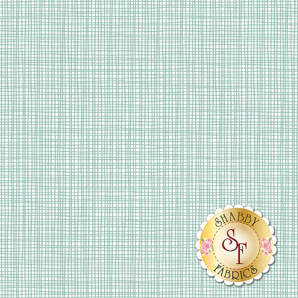 White weave texture on mint | Shabby Fabrics