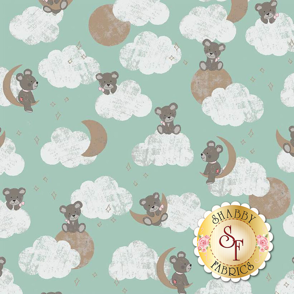 Bears on clouds with gold sparkle moon and stars on mint   Shabby Fabrics