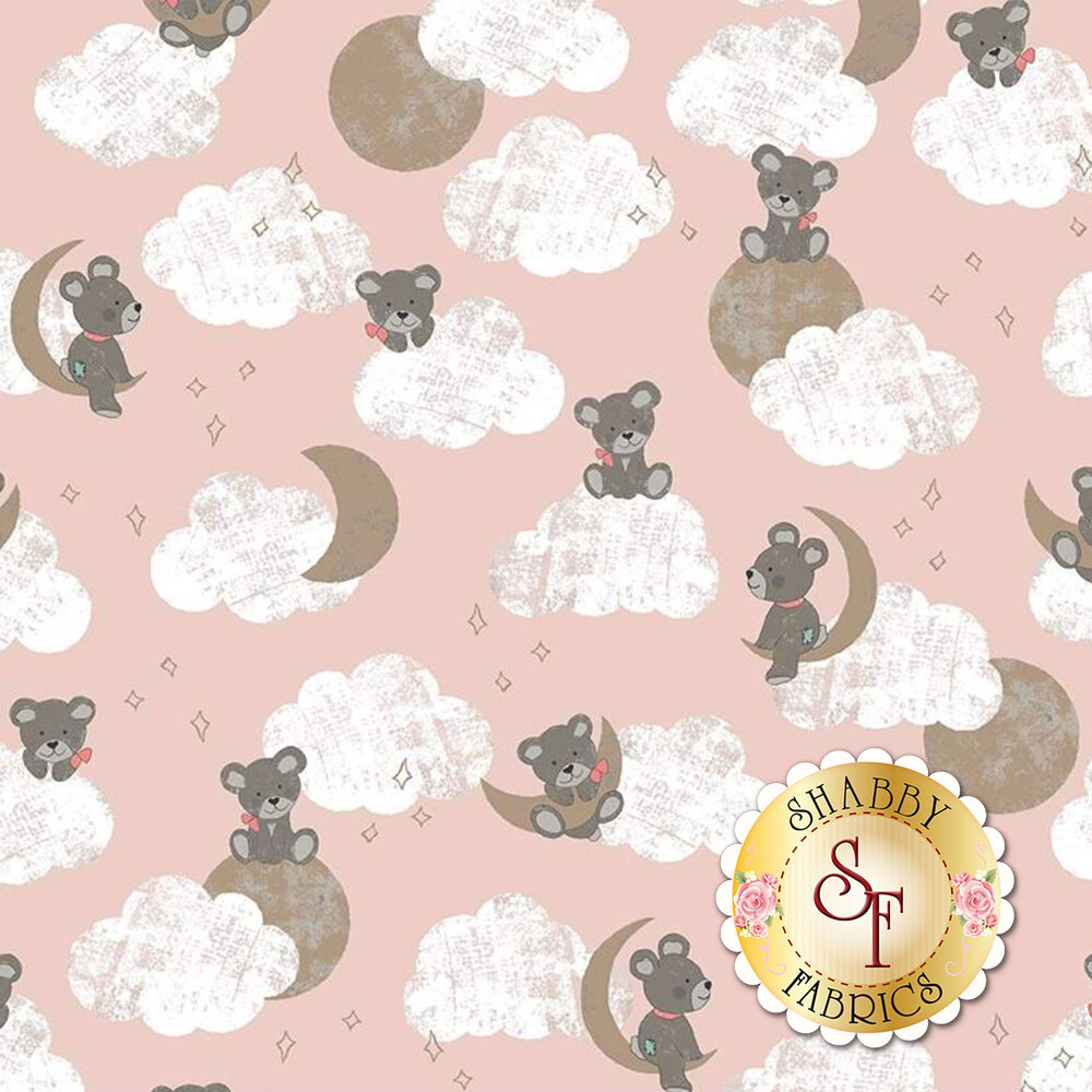 Bears on clouds with gold sparkle moon and stars on pink | Shabby Fabrics