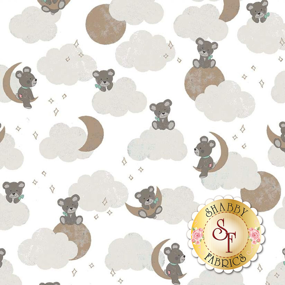Bears on clouds with gold sparkle moon and stars on white | Shabby Fabrics