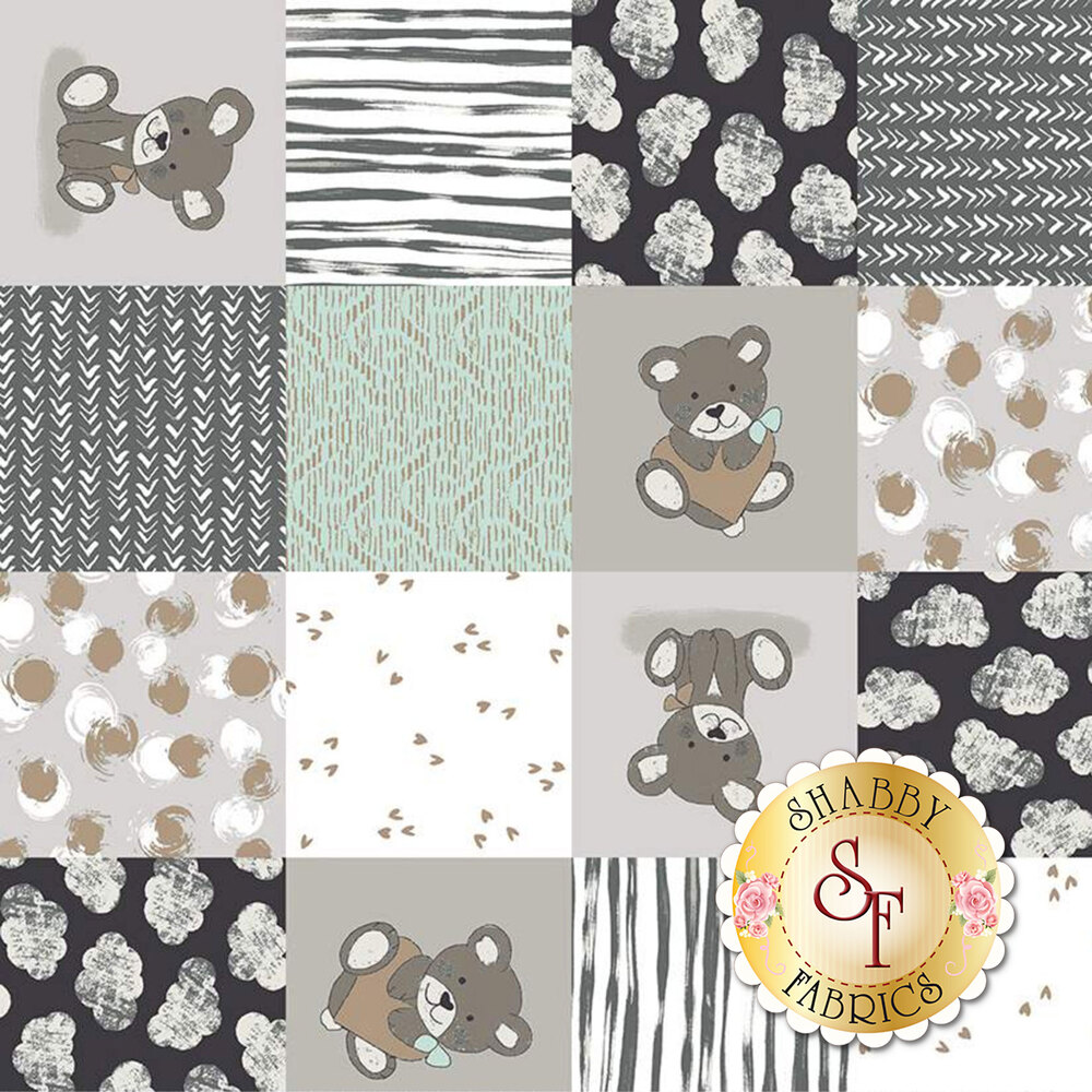 Gray and aqua patchwork print with bears, clouds, and hearts | Shabby Fabrics