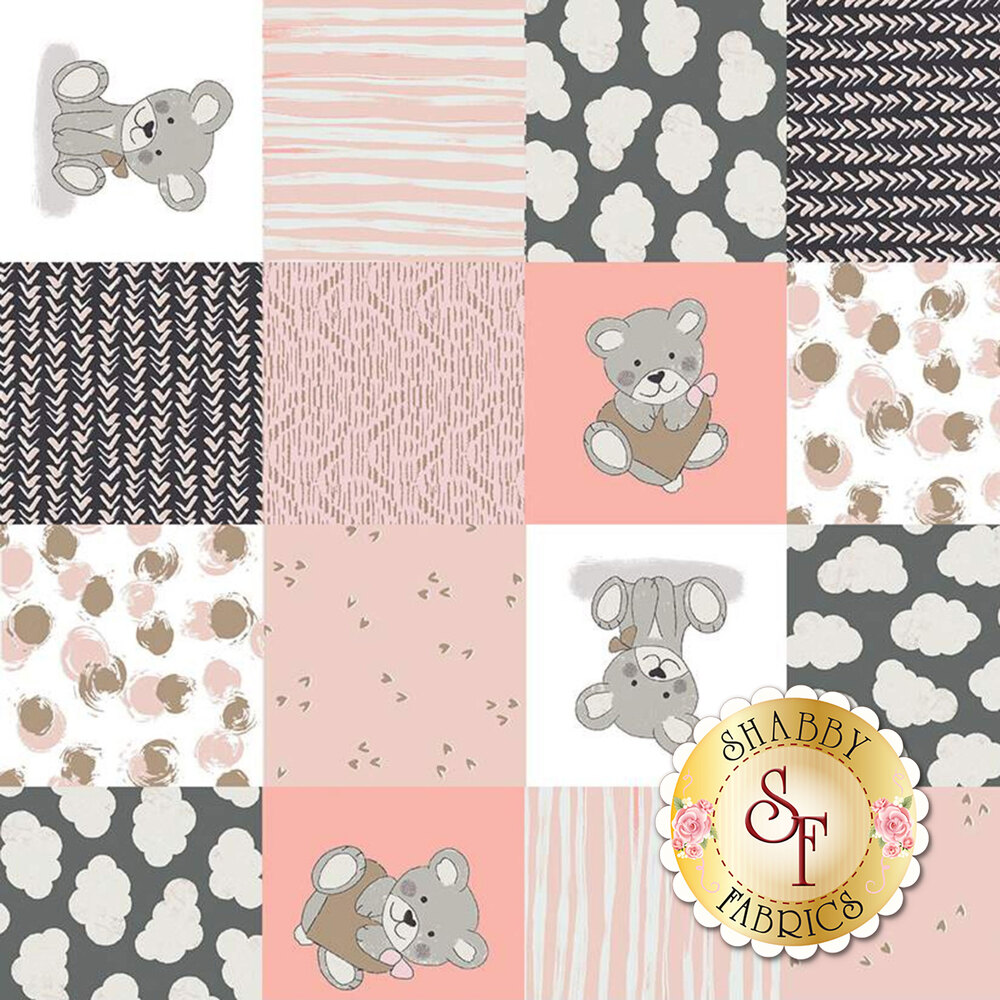 Coral and gray patchwork print with bears, clouds, and hearts | Shabby Fabrics