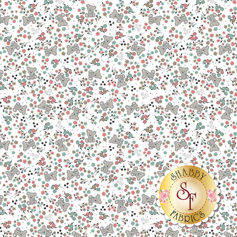Tossed flowers and bears on white | Shabby Fabrics