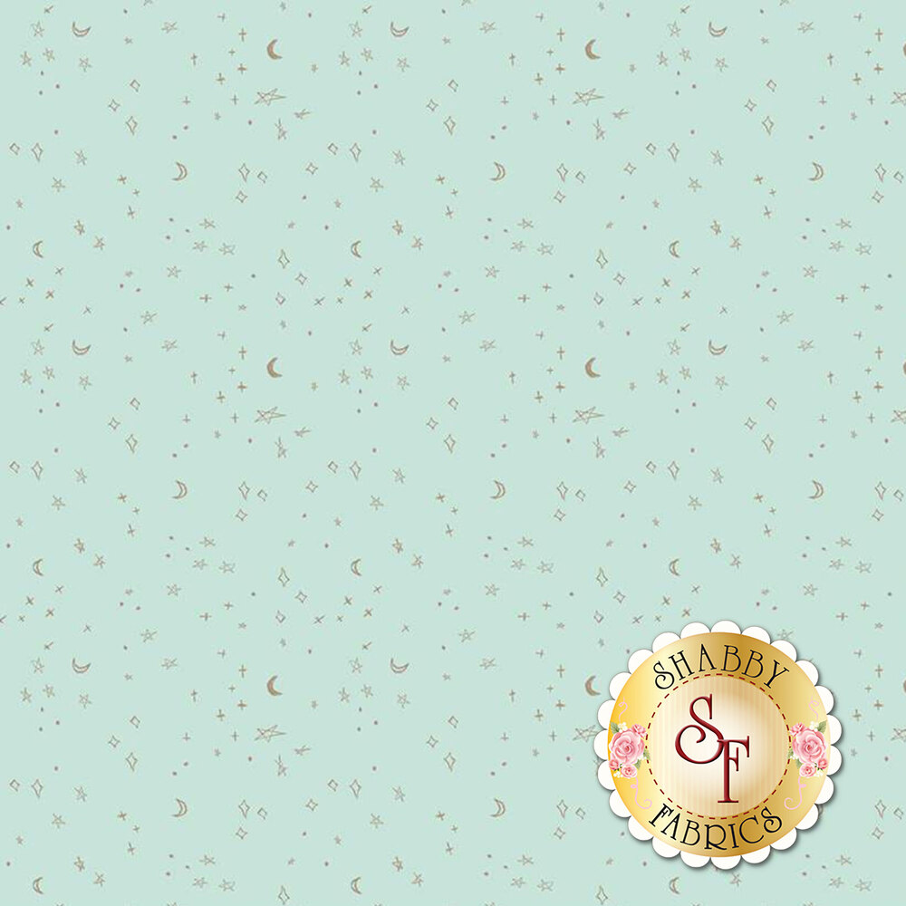 Tossed sparkly stars and moons on mint   Shabby Fabrics