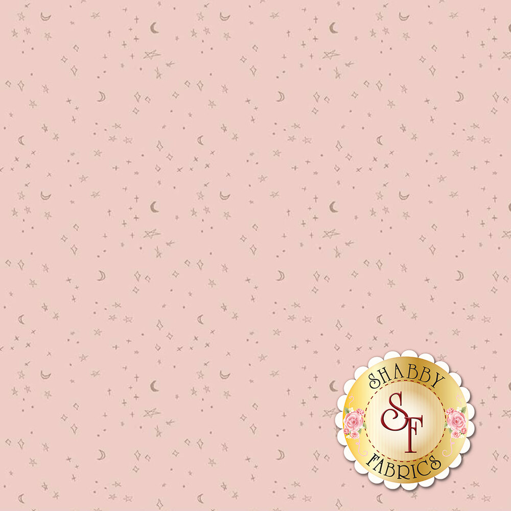 Tossed sparkly stars and moons on pink | Shabby Fabrics