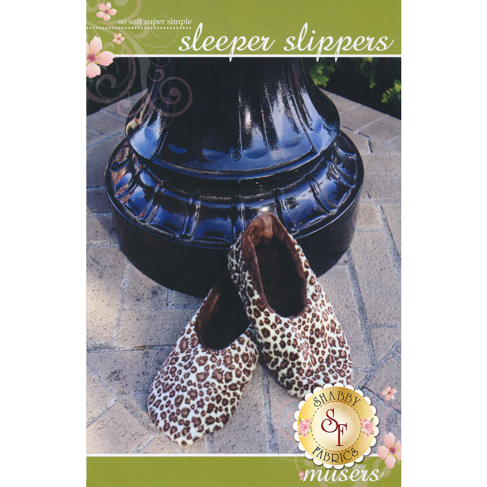The front of the Sleeper Slippers pattern showing the finished slippers | Shabby Fabrics