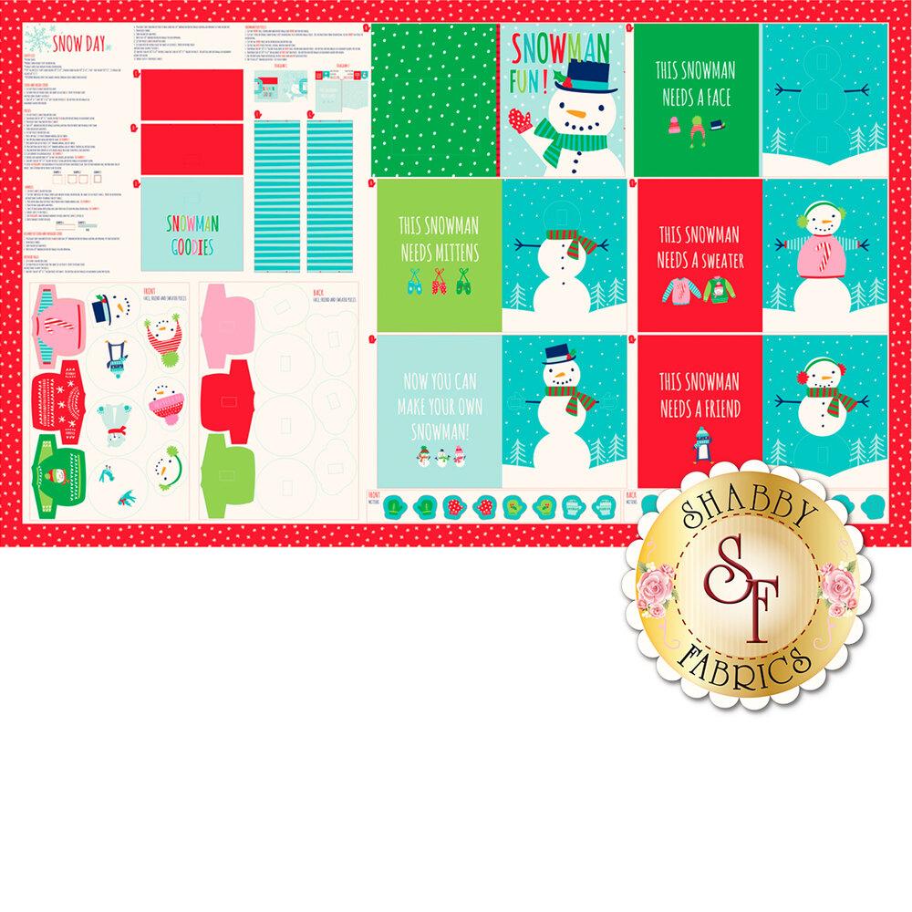 Story book panel featuring snowmen | Shabby Fabrics