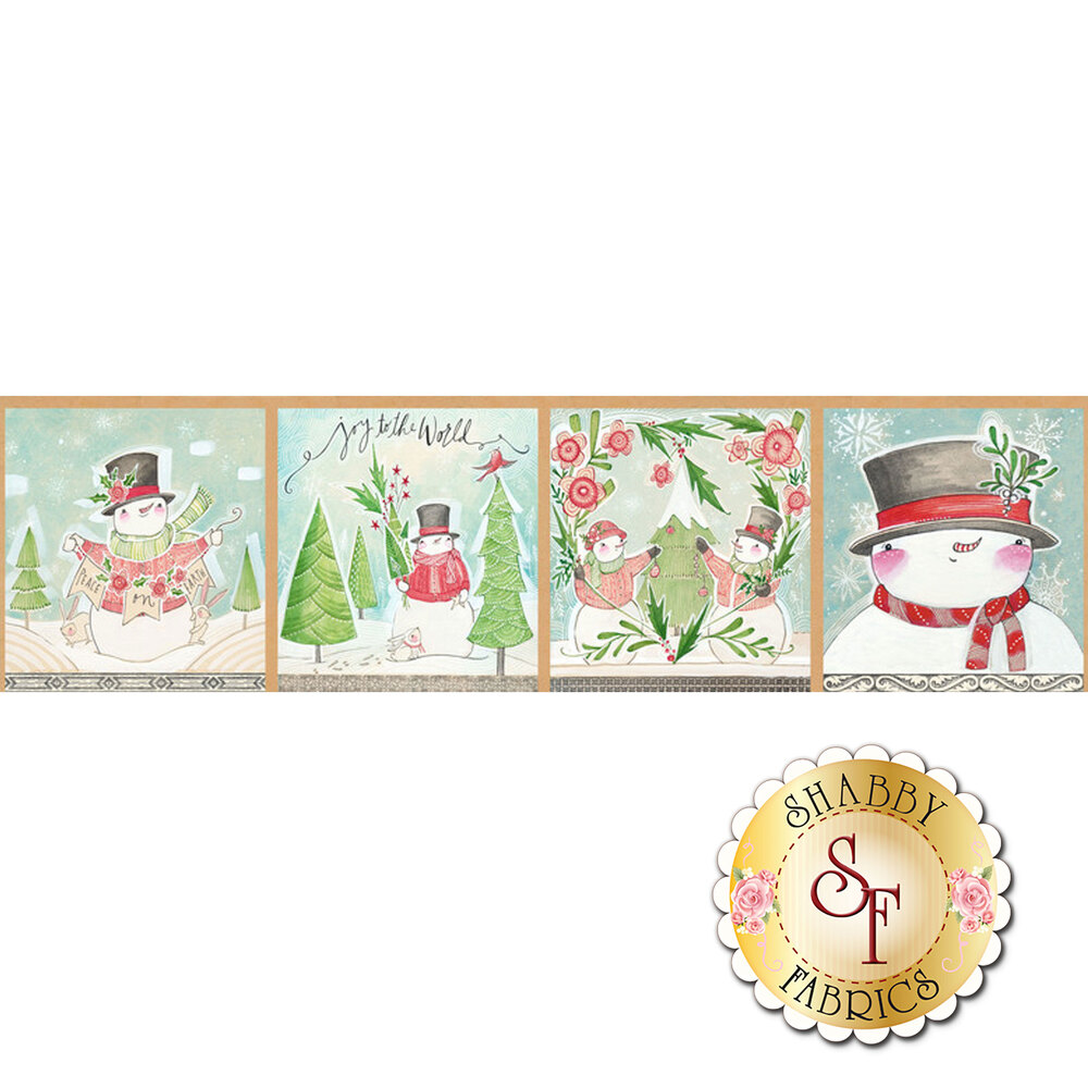A panel featuring four blocks showing different snowmen | Shabby Fabrics