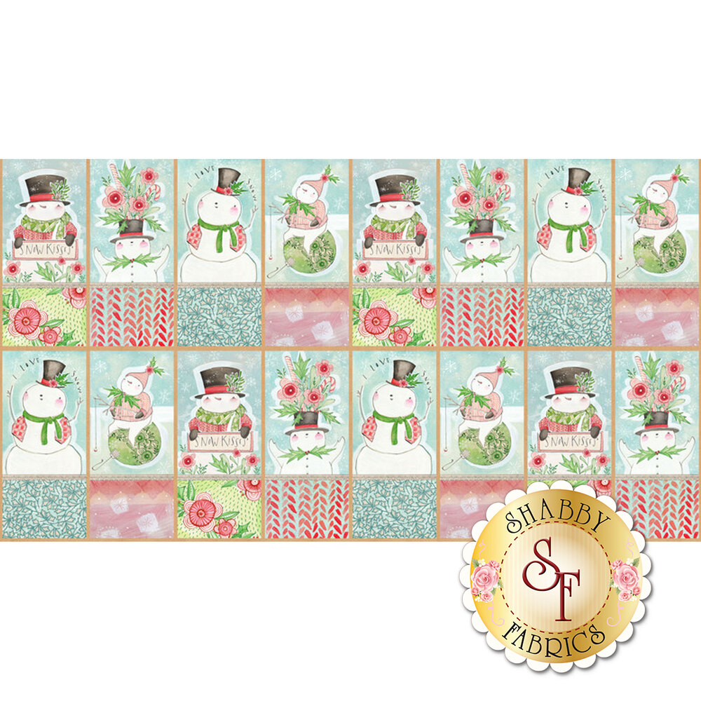 A panel featuring 16 blocks showing different snowmen | Shabby Fabrics