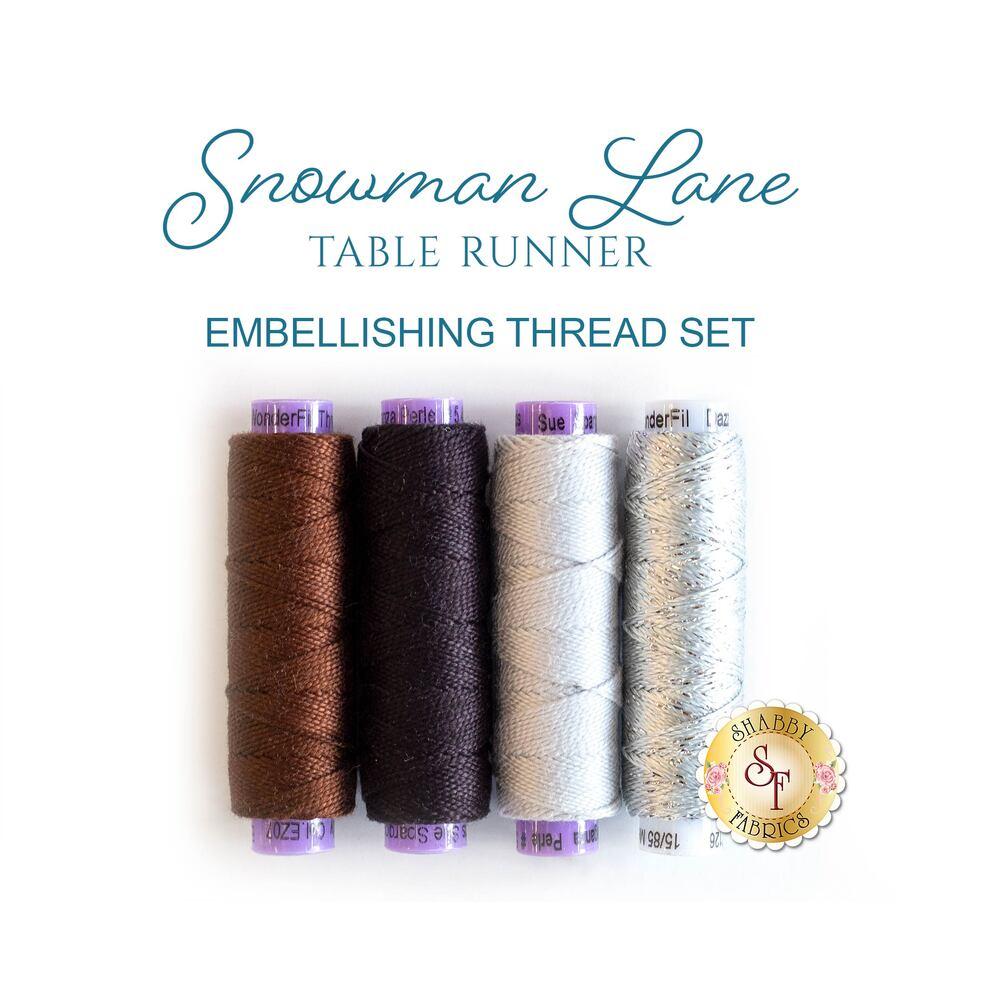 Snowman Lane Table Runner - 4 pc Embellishing Thread Set - RESERVE | Shabby Fabrics