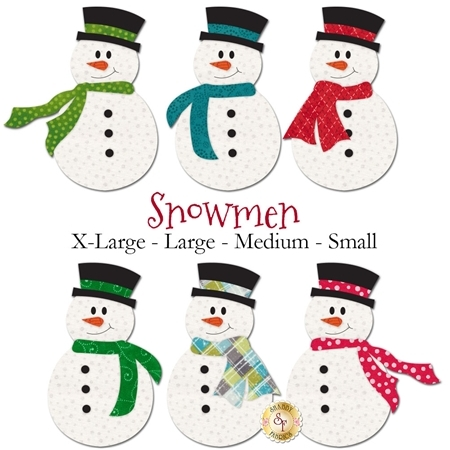 6 snowmen applique shapes with different brightly-colored scarves.