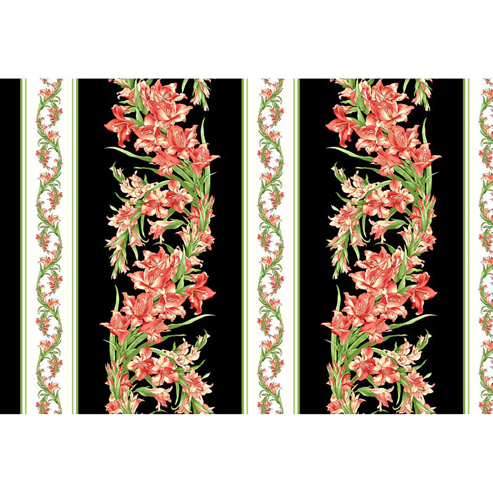 Clusters of pink flowers on black on a border stripe   Shabby Fabrics