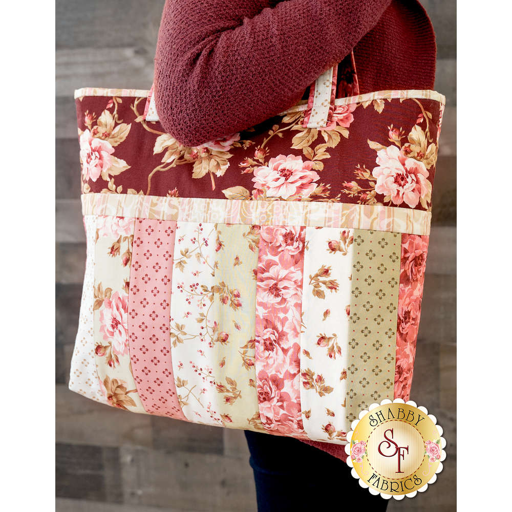 Quilt As You Go Sophie Tote Kit - Burgundy & Blush