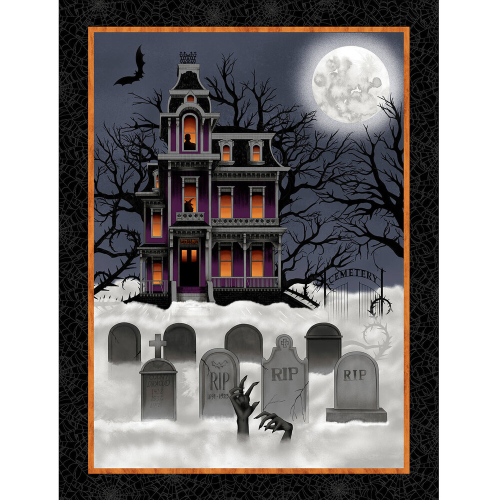 Haunted house with a grave yard covered in fog | Shabby Fabrics