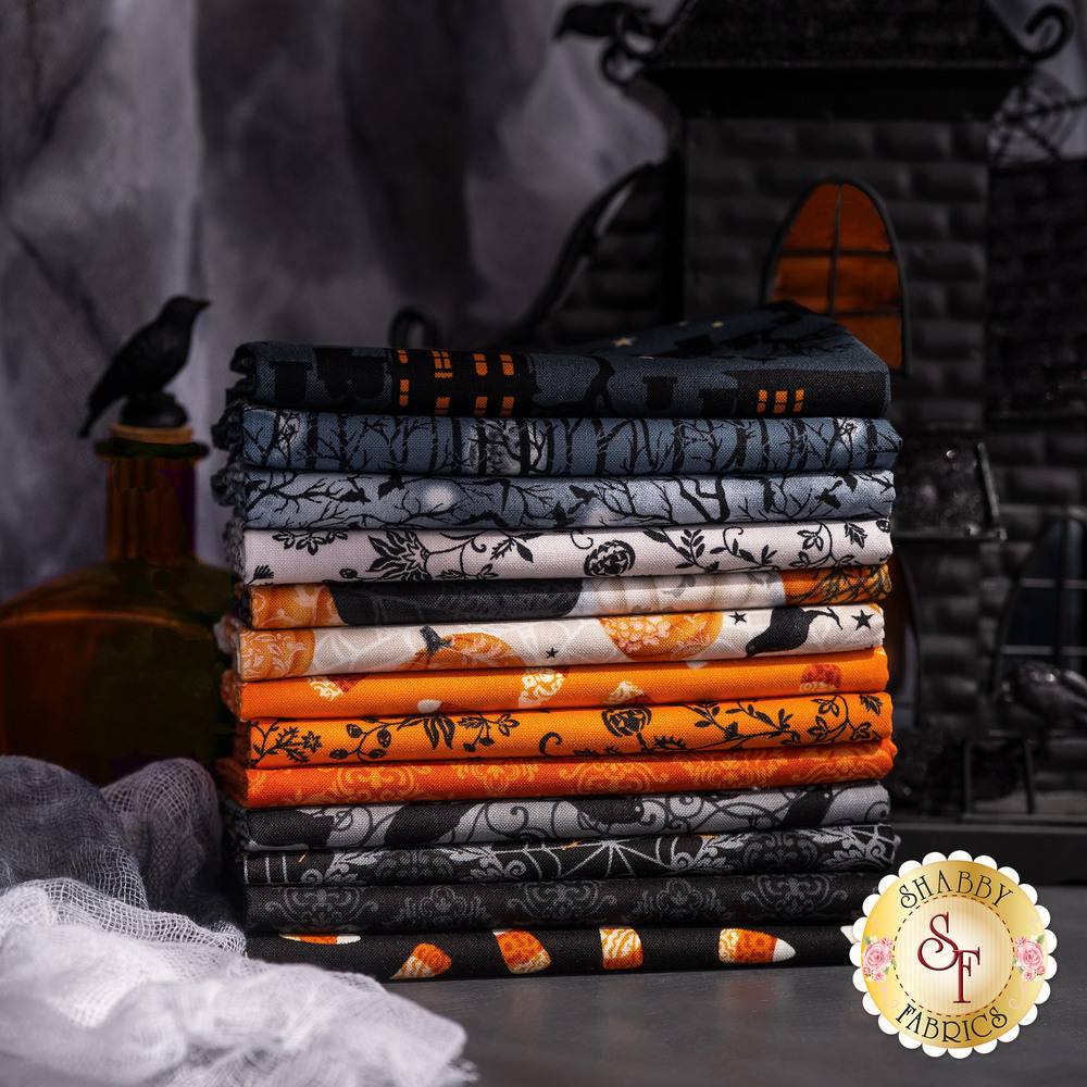 A collage of fabrics featured in the Spooky Night collection   Shabby Fabrics