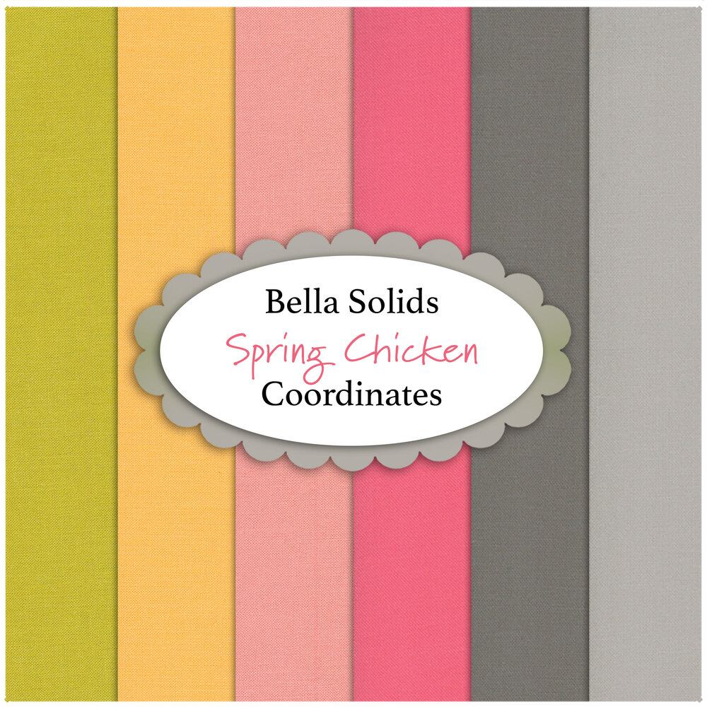 A collage of fabrics included in the Spring Chicken Bella Solids coordinate set