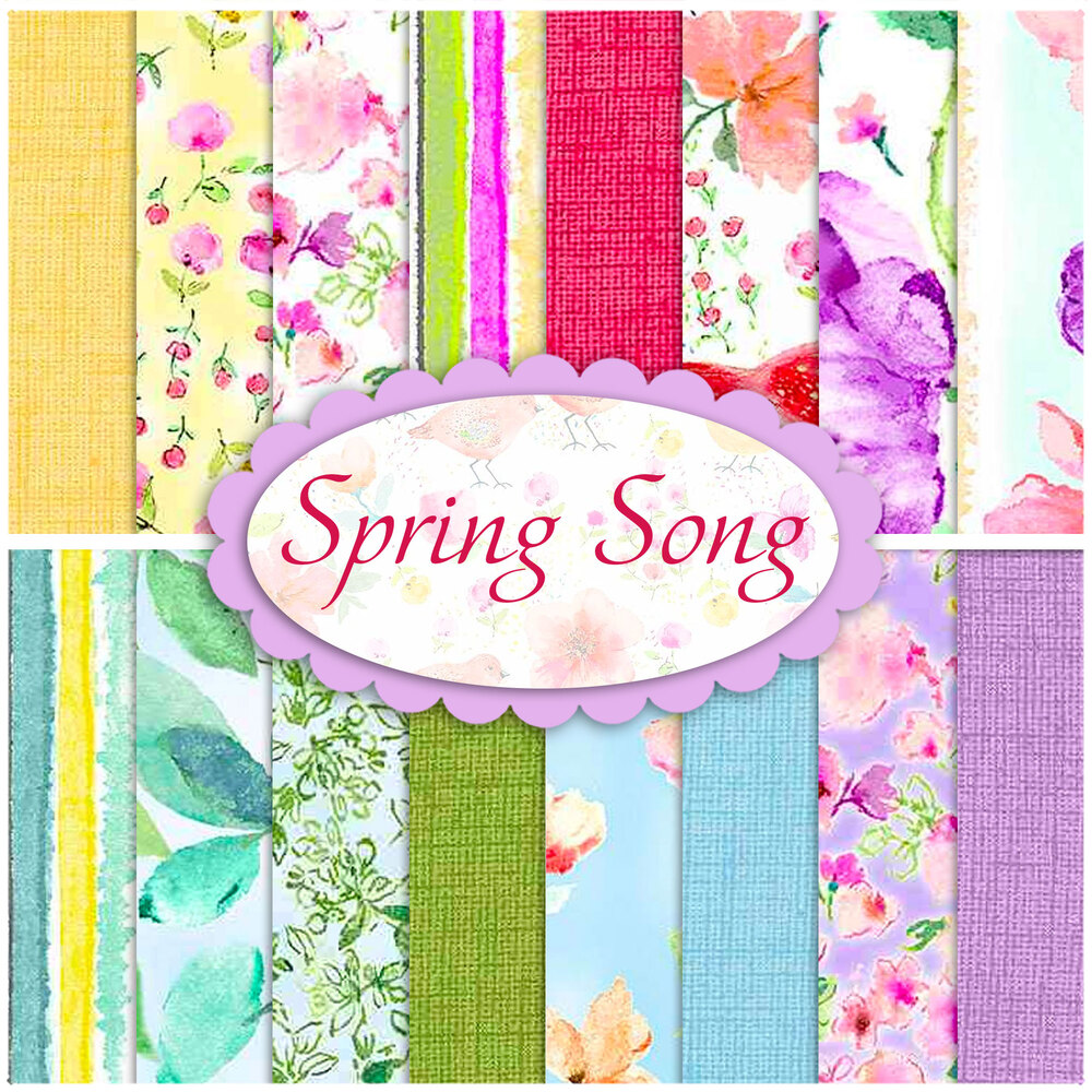 A collage of fabric from the Spring Song collection