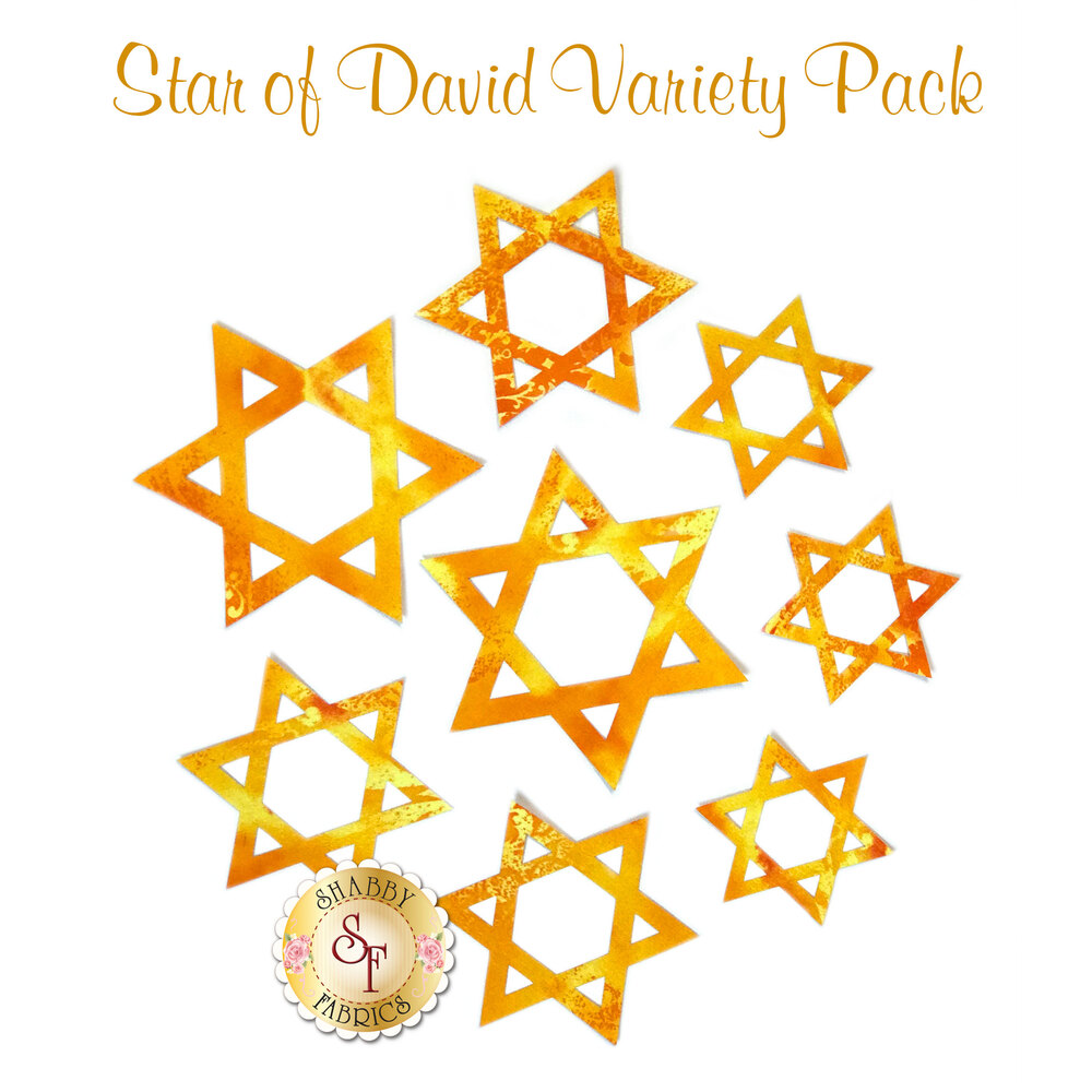 8 Star of David applique shapes cut from gold-colored fabric in a variety of sizes.