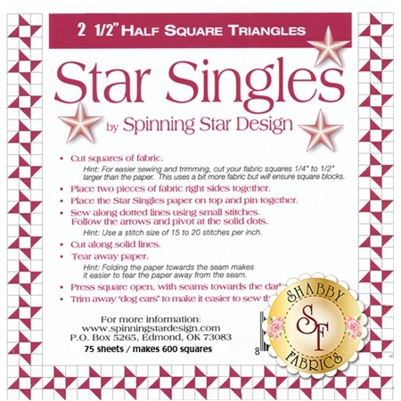 """Star Singles 2 1/2"""" Half Square Triangle Paper"""