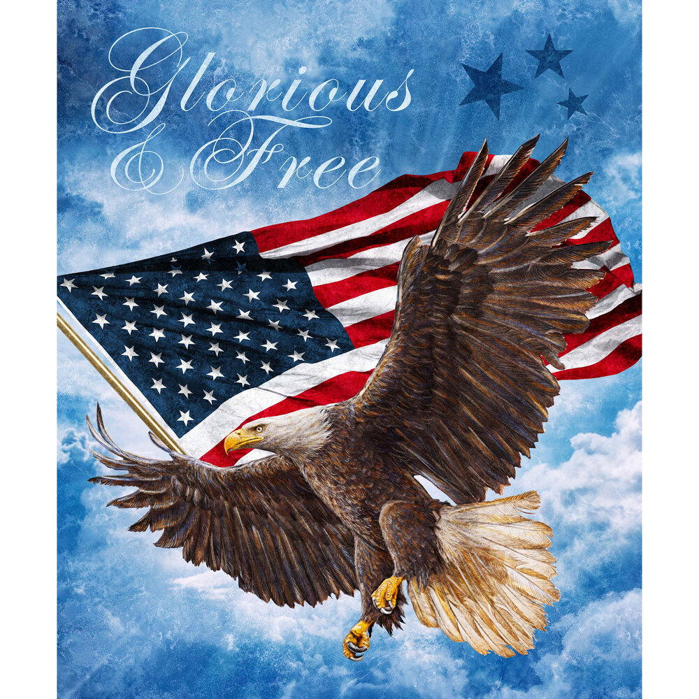 """Eagle carrying American flag on sky background with words """"Glorious and Free"""" 