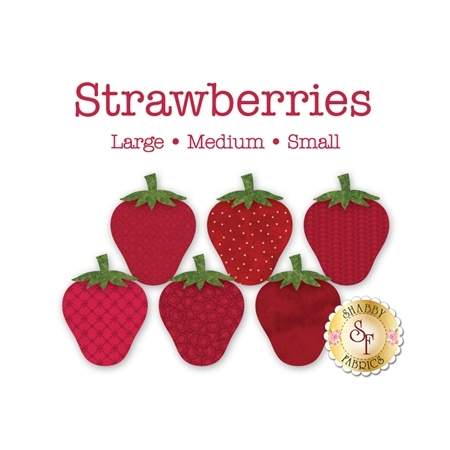 6 strawberry applique shapes in 6 complementary but unique red print fabrics.
