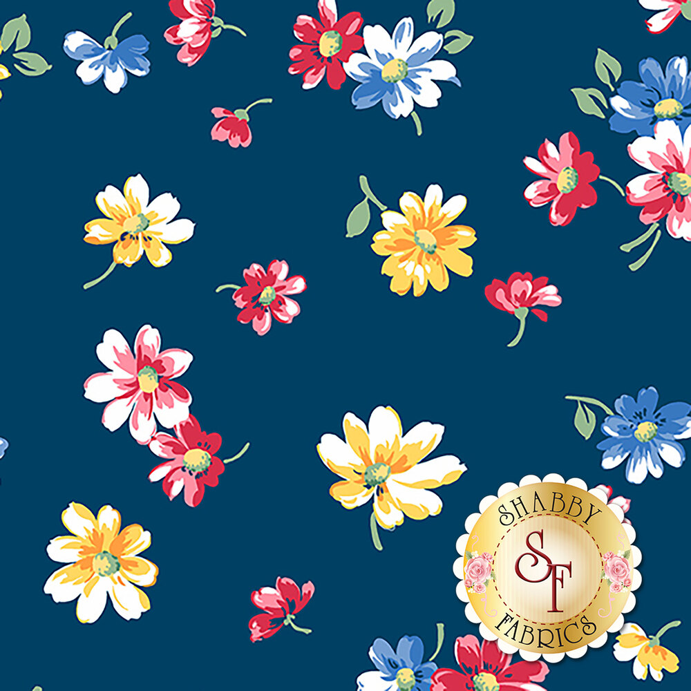 Small flowers tossed on blue | Shabby Fabrics