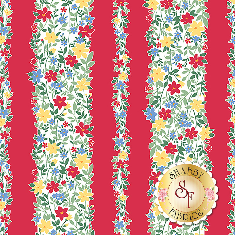 Colorful floral stripe on red | Shabby Fabrics