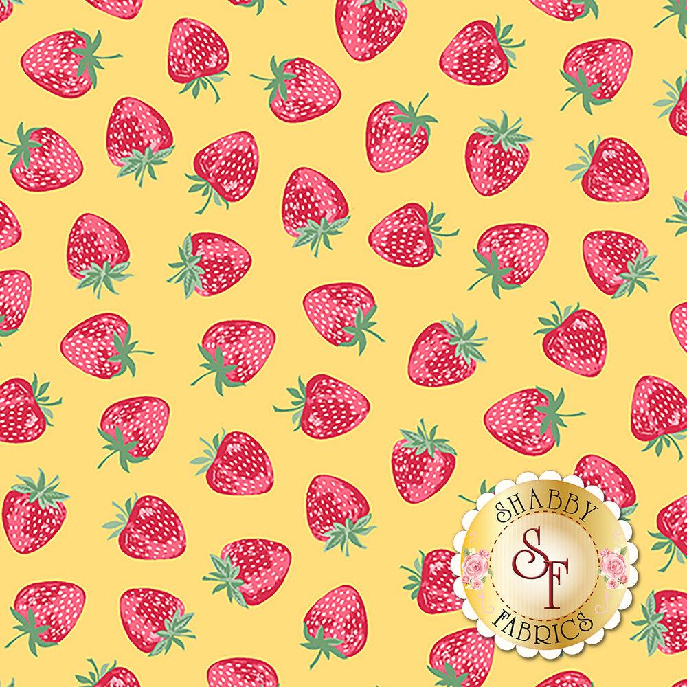 Red strawberries tossed on yellow | Shabby Fabrics