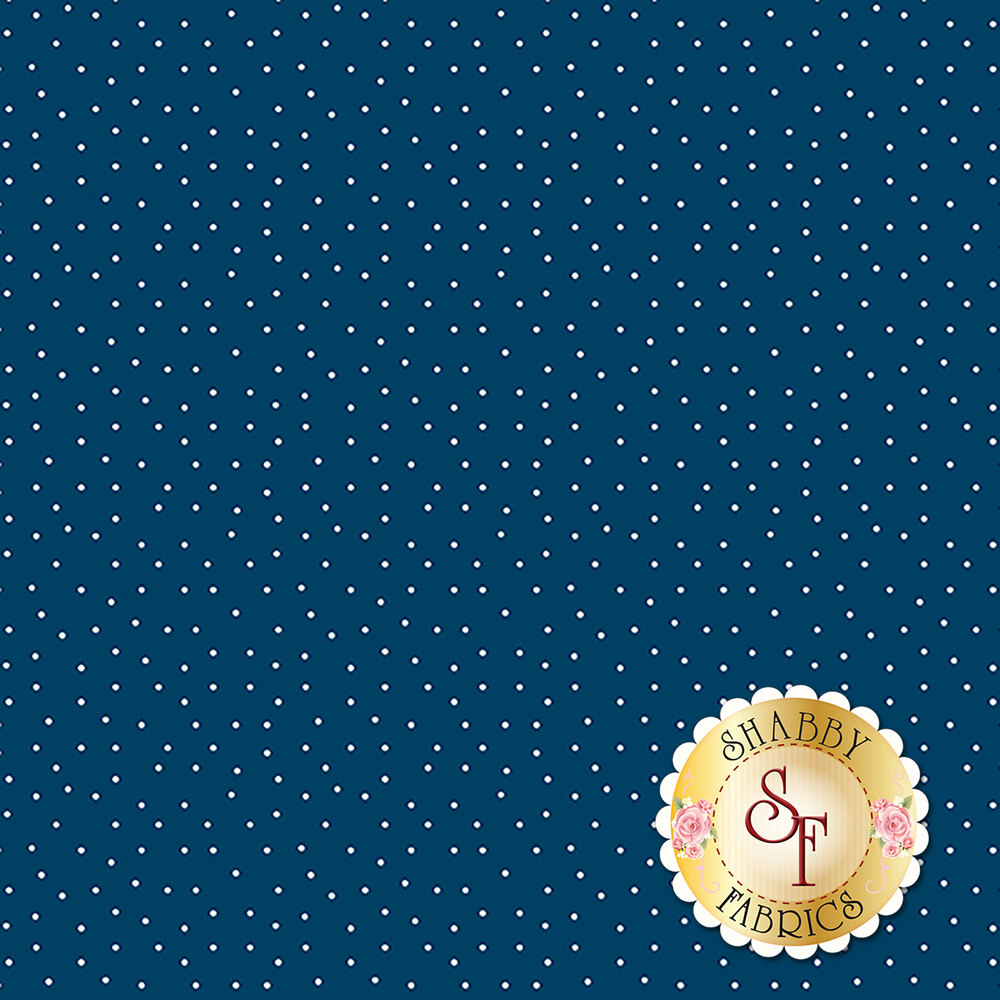 Small white dots scattered on blue | Shabby Fabrics