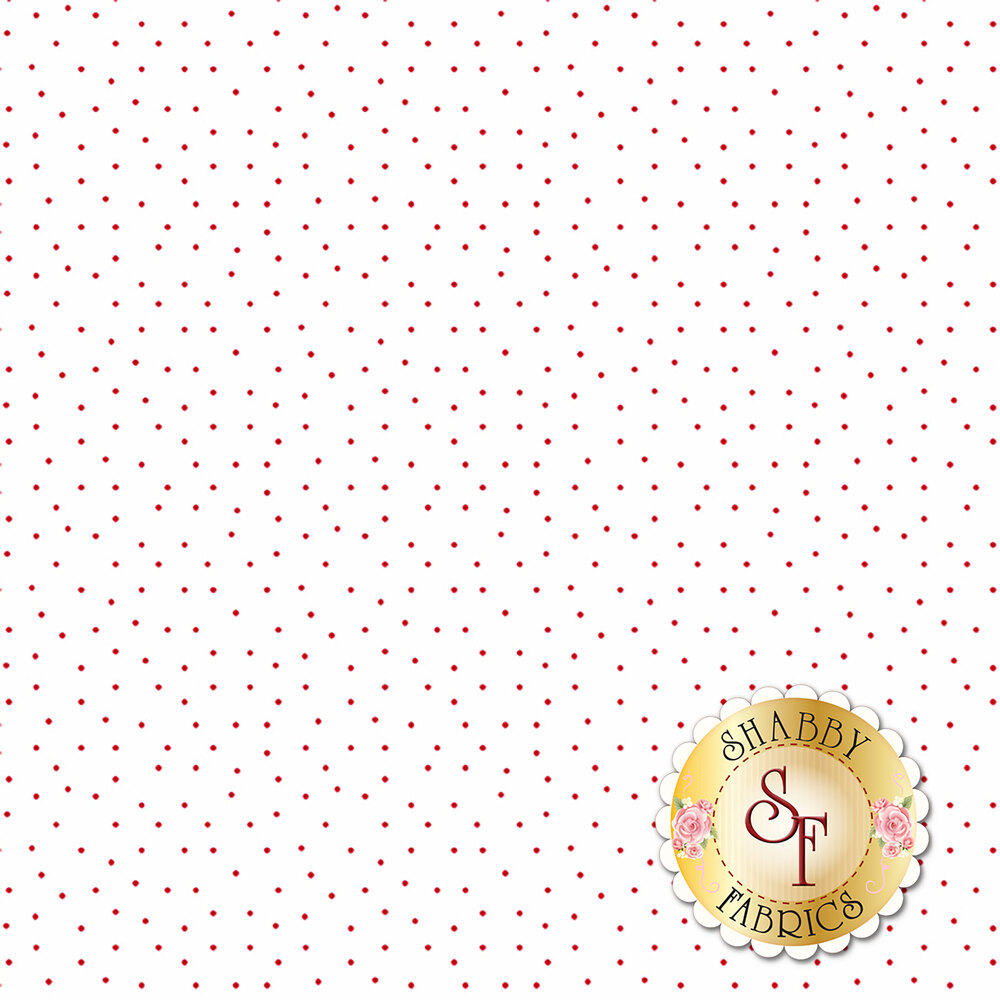 Small red dots scattered on white   Shabby Fabrics