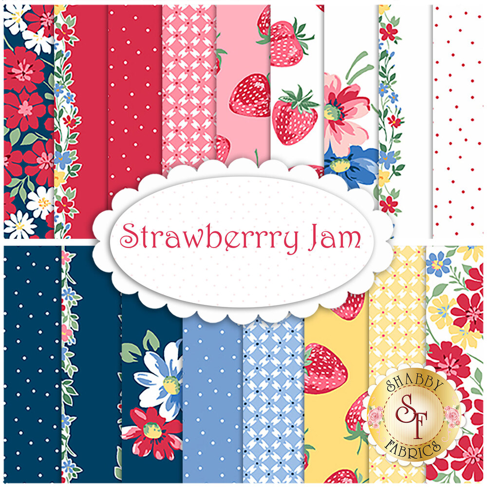 Collage of fabrics included in the Strawberry Jam collection | Shabby Fabrics