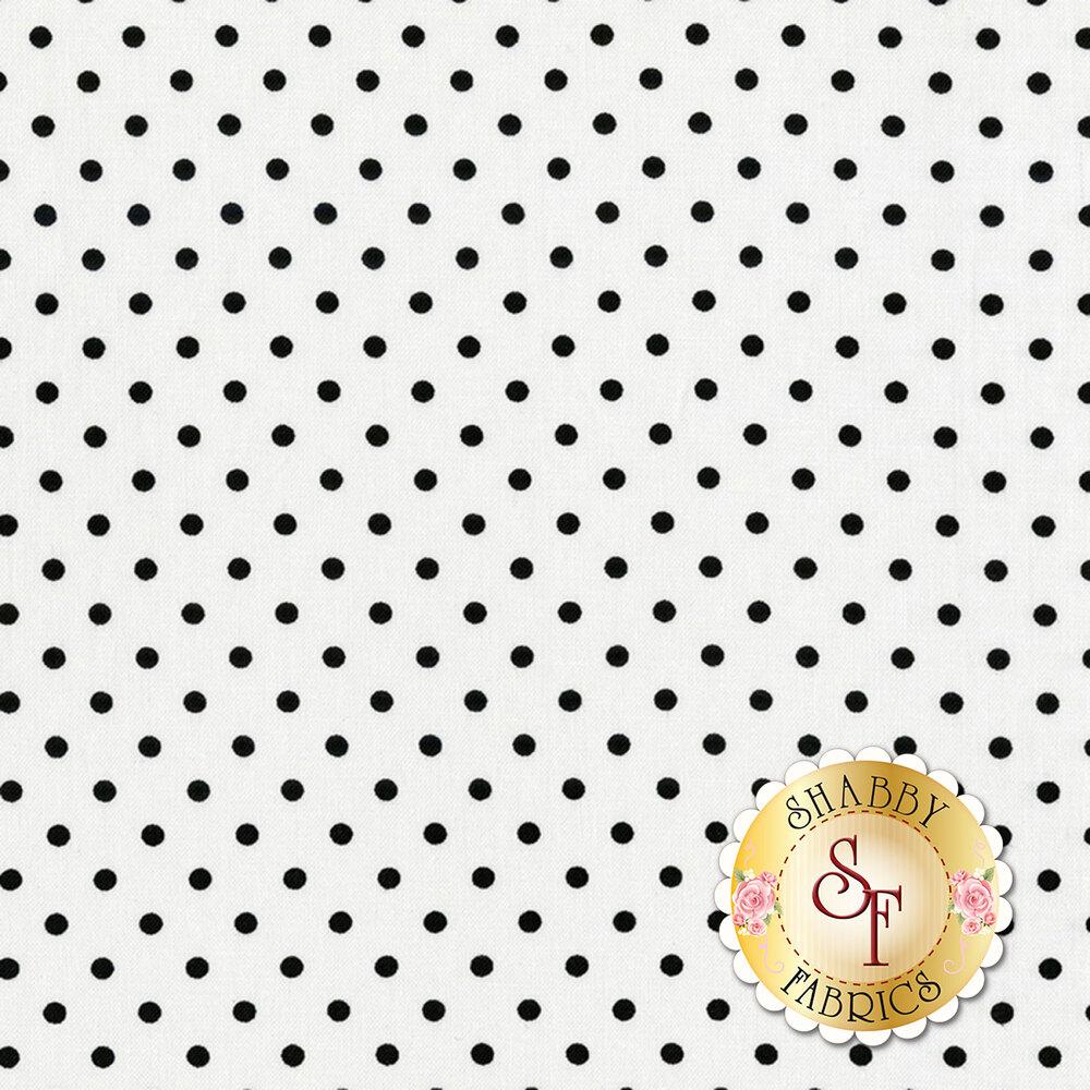 A classic polka dot print with black polka dots on a white background | Shabby Fabrics