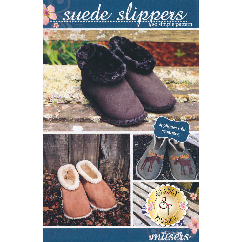 The front of the Suede Slippers pattern showing the finished slippers | Shabby Fabrics