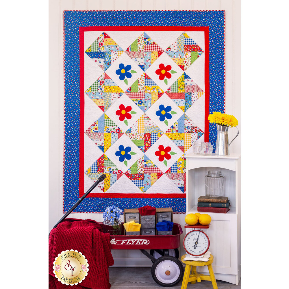 Spinning Rail Fence Quilt Kit - Sugar Sack