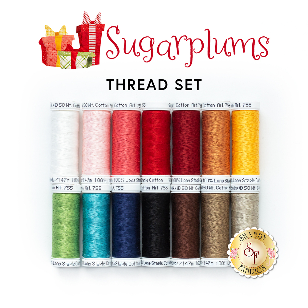 The coordinating 14 piece thread set for the Sugarplums BOM | Shabby Fabrics