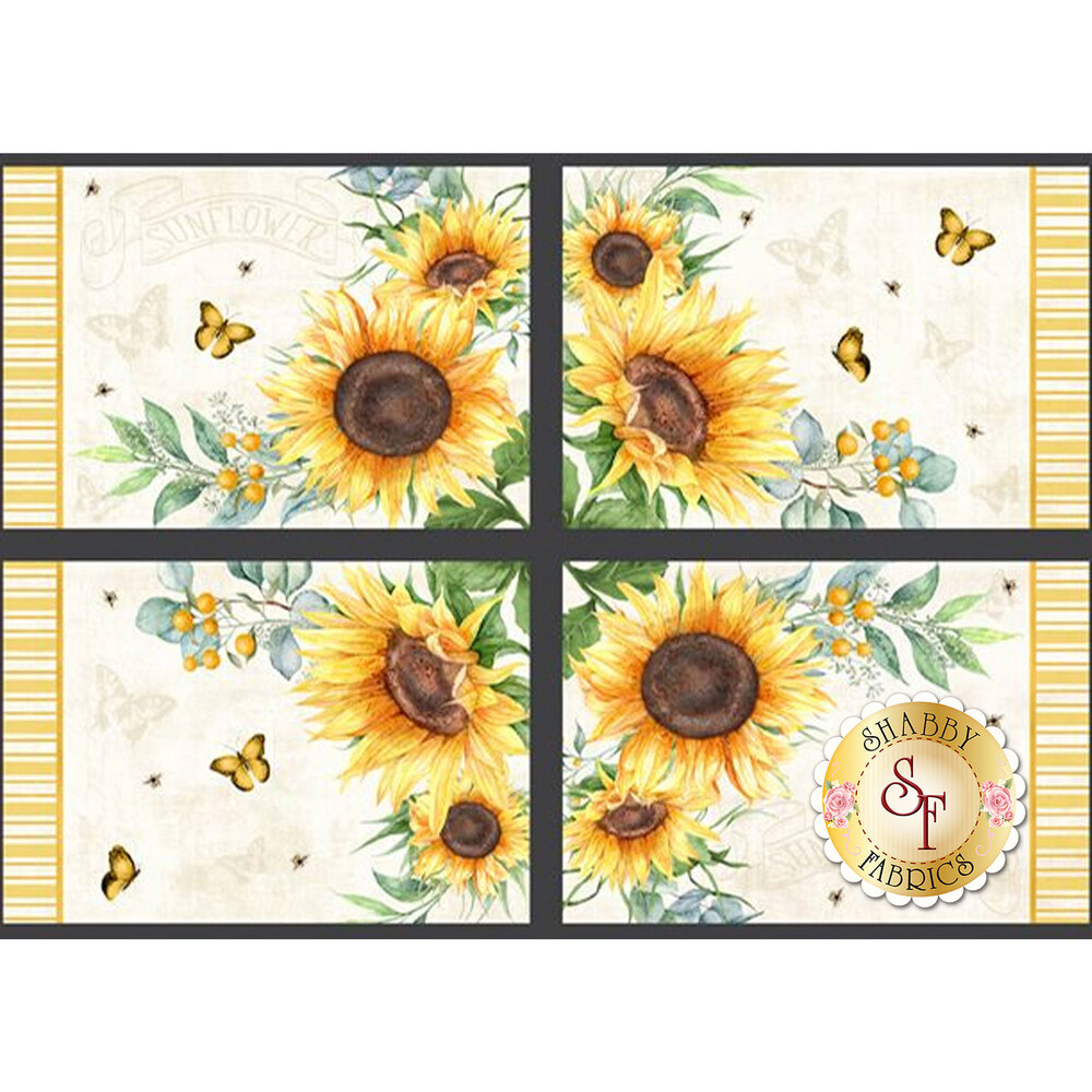 Placemat panel featuring 4 sunflower placemats | Shabby Fabrics