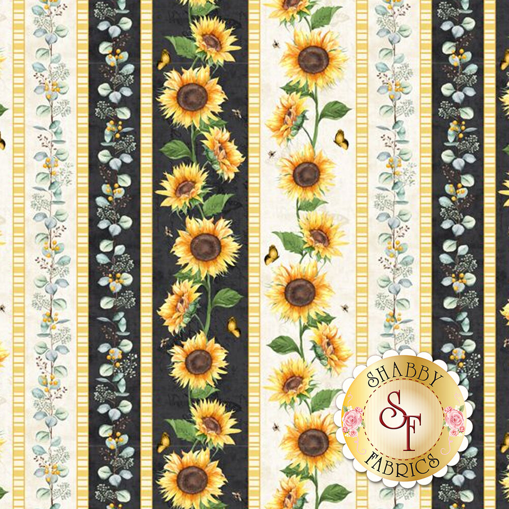 Border stripe featuring butterflies, sunflowers, and vines | Shabby Fabrics