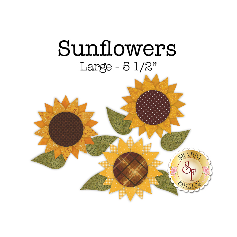 3 yellow sunflower applique shapes with large brown patterned centers.