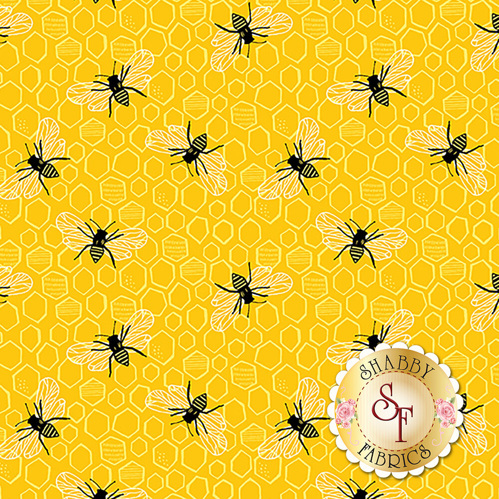 Bees on yellow honeycomb | Shabby Fabrics