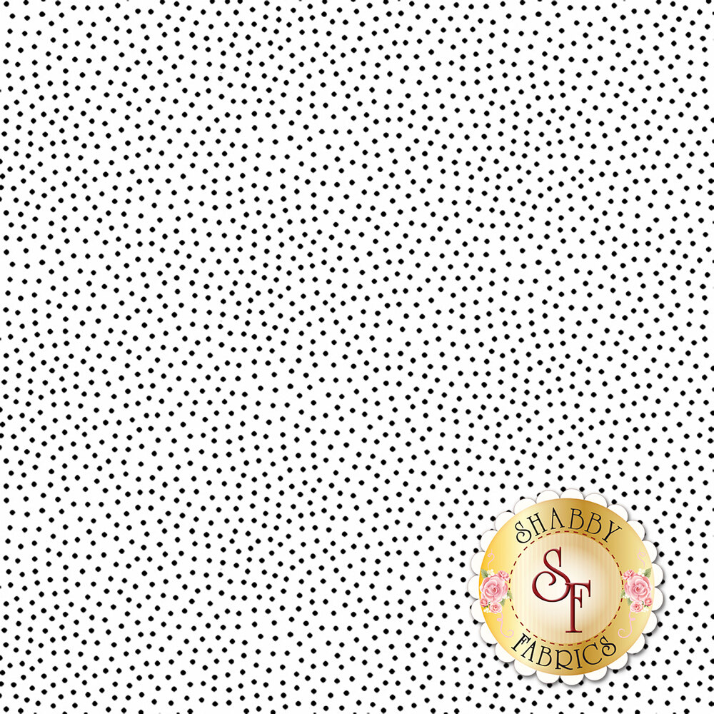 Small black dots scattered on white | Shabby Fabrics
