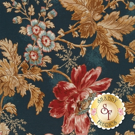 Tossed flowers and leaves on a navy background | Shabby Fabrics