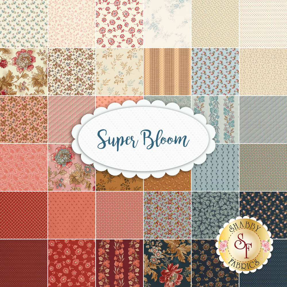 A collage of the 36 fabrics included in the Super Bloom collection   Shabby Fabrics
