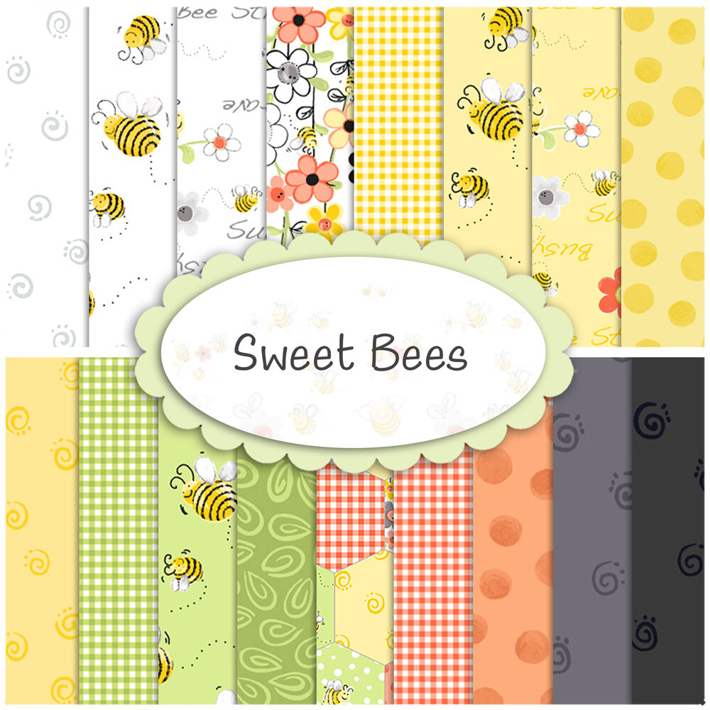 Fabrics included in the Sweet Bees collection | Shabby Fabrics
