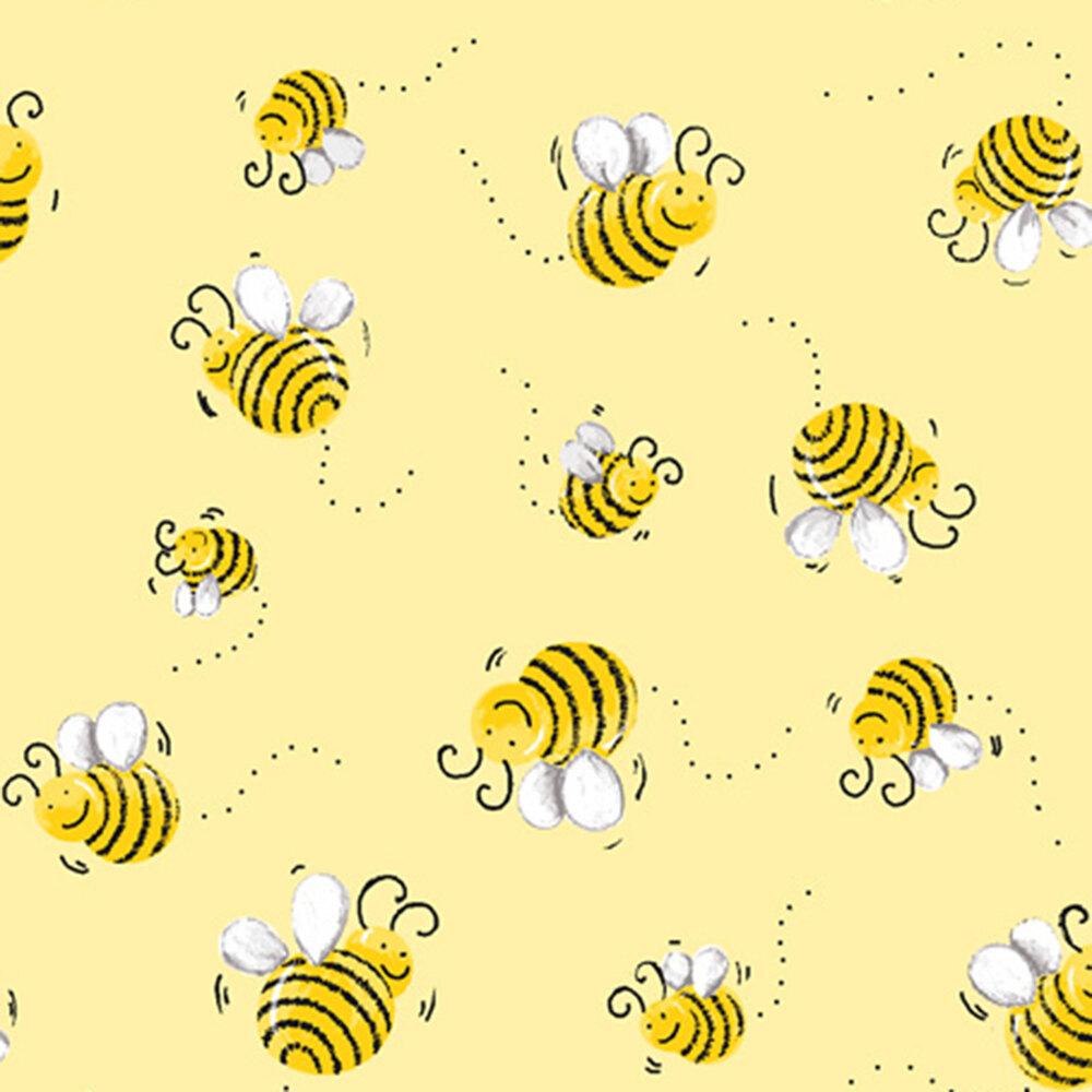 Tossed bees on a yellow background | Shabby Fabrics
